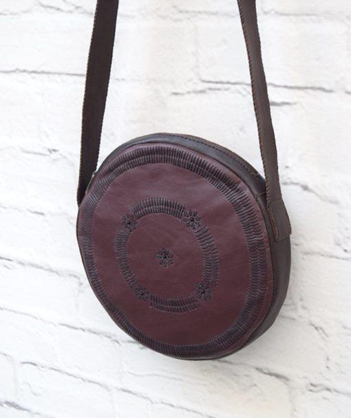 στρόγγυλη τσάντα δέρμα μπορντό 3
