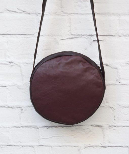 στρόγγυλη τσάντα δέρμα μπορντό 4