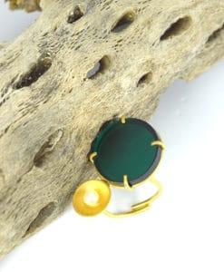 Δαχτυλίδι επίχρυσο με Plexiglas Πράσινο 00256225a (1)