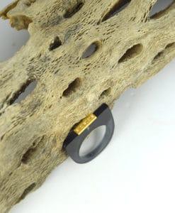 Δαχτυλίδι Plexiglass με επίχρυσο στοιχείο & ζιρκόν Γκρι 0025619a (1)