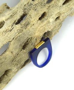 Δαχτυλίδι Plexiglass με επίχρυσο στοιχείο & ζιρκόν Μπλε 0025621a (1)