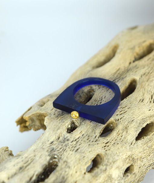 Δαχτυλίδι Plexiglass με επίχρυσο στοιχείο & ζιρκόν Μπλε 00256223a (3)