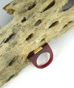 Δαχτυλίδι Plexiglass με επίχρυσο στοιχείο & ζιρκόν Μπορντό 0025618a (1)