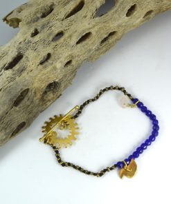 Βραχιόλι έθνικ με μεταλλικά στοιχεία & μπλε πέτρες 0025613a (1)