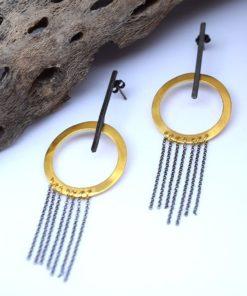 Σκουλαρίκια κυκλικά με αλυσίδα 00256257a