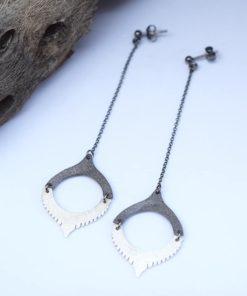 Σκουλαρίκια μακριά ασημί & ασήμι με μαύρη οξείδωση 00256238a