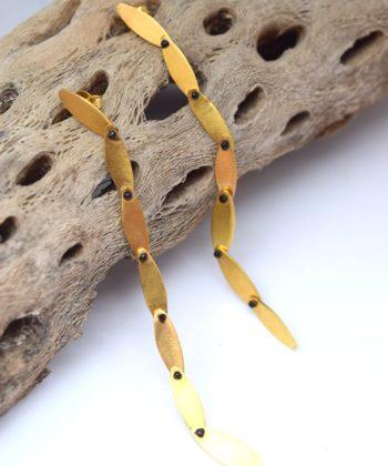 Σκουλαρίκια μακριά ασήμι επιχρυσωμένο 00256259a
