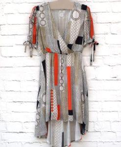 φόρεμα εμπριμέ ασύμμετρο Artonomous 1