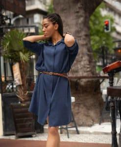 φόρεμα μπλε με ζώνη Artonomous 1