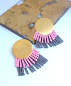 στρόγγυλα σκουλαρίκια ροζ γκρι τσαπραλή Artonomous 1