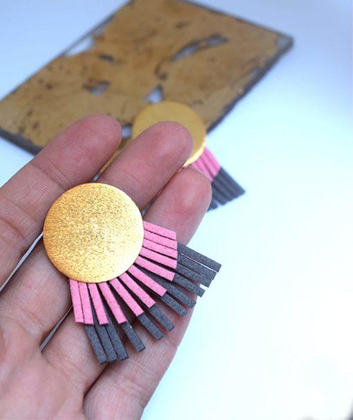 στρόγγυλα σκουλαρίκια ροζ γκρι τσαπραλή Artonomous 2