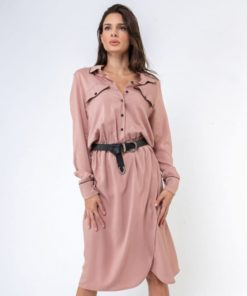 Midi Nude Dress With Belt Artonomous 1