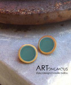σκουλαρίκια σμάλτο Stone Petrol πριγκιπώ Artonomous 3
