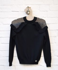 μπλούζα μαύρη με δαντέλα Artonomous 1