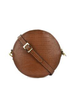 Croc Embossed Leather Circle Bag Tan Artonomous