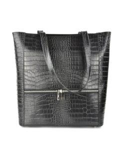 Croc Embossed Leather Tote Bag Black Artonomous