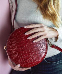 Round Leather Bag Croc Effect Artonomous