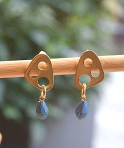 Gold Plated Brass Earrings Semi Precious Stone Dea Artonomous3