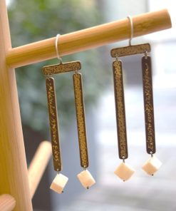 Handmade Earrings Brass White Coral Meitani Artonomous 1