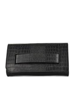 Leather Croc Effect Clutch Bag Black Artonomous