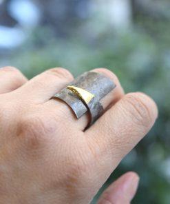 Rhodium Plated Gold Plated Brass Ring Artonomous 2