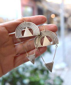 Σκουλαρίκια μακριά ασήμι γεωμετρικά