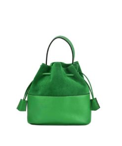 Leather Suede Bucket Bag Green