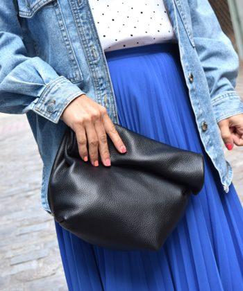 Τσάντα δερμάτινη clutch - Μαύρο
