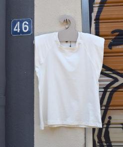 Λευκό T Shirt με Βάτες