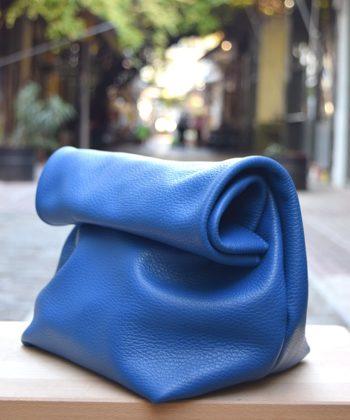 Τσάντα δερμάτινη clutch - Μπλε