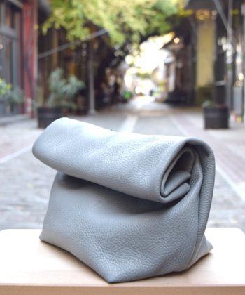 Τσάντα δερμάτινη clutch - Γκρι