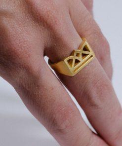 Πριγκιπώ Δαχτυλίδι Κορώνα Ασήμι Επιχρυσωμένο