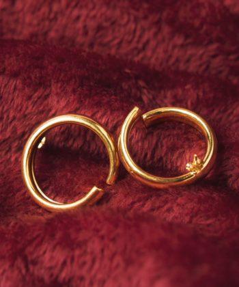 Σκουλαρίκια Ασήμι Επιχρυσωμένο Κύκλος Γυαλιστερά