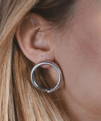 Σκουλαρίκια Ασήμι Κύκλος Γυαλιστερά