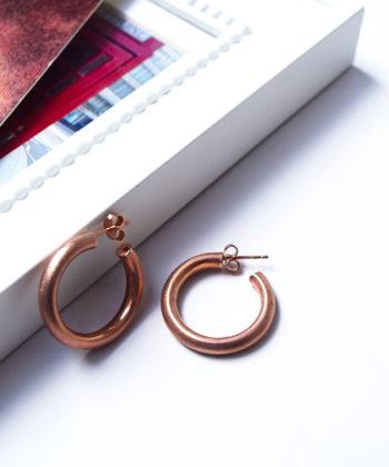 Σκουλαρίκια Ασήμι Κρίκοι Ροζ Επιχρύσωμα Ματ
