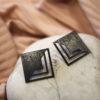 Black Plated Brass Stud Earrings Artonomous 1