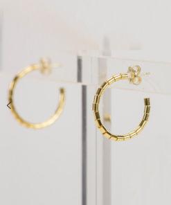 Tube Gold Plated Silver Hoop Earrings Artonomous 1