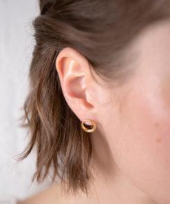 Πριγκιπώ σκουλαρίκια γυαλιστερά επίχρυσα