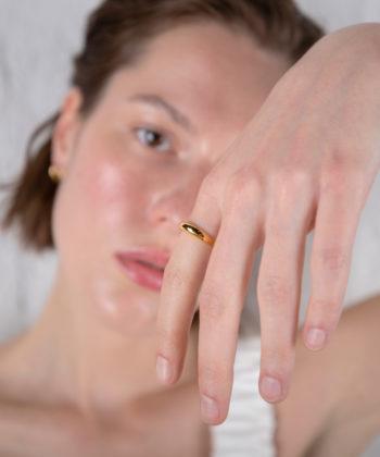 Πριγκιπώ δαχτυλίδι γυαλιστερό επίχρυσο