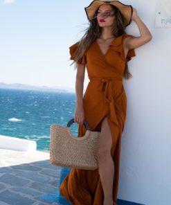 Φόρεμα Maxi με βολάν Camel 3 1