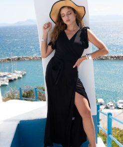 Φόρεμα Maxi με βολάν μαύρο 1 1