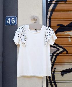 Λευκό T Shirt με βολάν 2