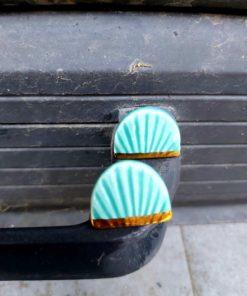 Σκουλαρίκια κεραμικά οβάλ - Τυρκουάζ
