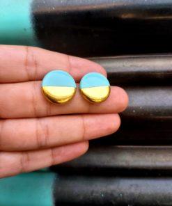 Σκουλαρίκια κεραμικά κύκλος - βεραμάν