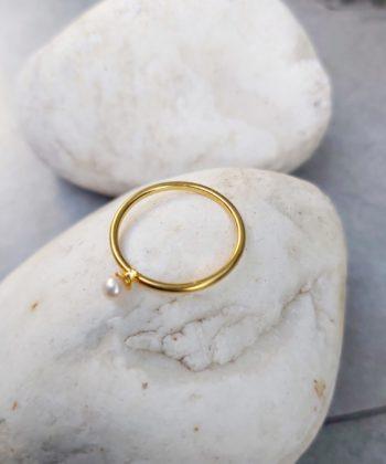 Δαχτυλίδι βεράκι επιχρυσωμένο μαργαριτάρι