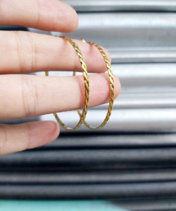 Σκουλαρίκια ασήμι επιχρυσωμένο κρίκοι πλεξούδα