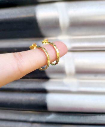 Σκουλαρίκια επιχρυσωμένο ασήμι κρίκοι μικροί