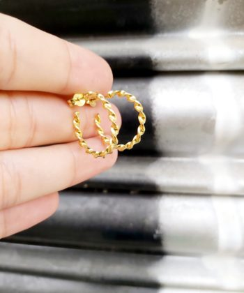 Σκουλαρίκια επιχρυσωμένο ασήμι κρίκοι στριφτά
