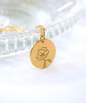 Κολιέ ασήμι επιχρυσωμένο λουλούδι γέννησης - Αύγουστος