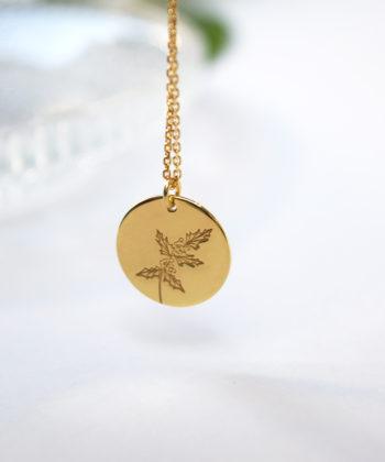 Κολιέ ασήμι επιχρυσωμένο λουλούδι γέννησης - Δεκέμβριος